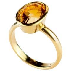 Amber Citrine Quartz 18 Karat Yellow Gold Solitaire Rose Cut Round Cocktail Ring