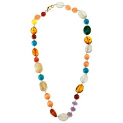 Amber Citrine Turquoise Amber Carnelian Opal Vermeille Necklace