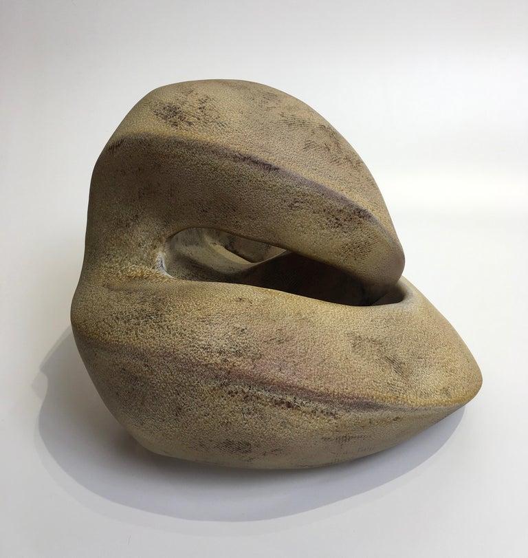 Modern Amber Coil, Hand Built Ceramic Sculptural Organic Form in Subtle Earth Tones For Sale