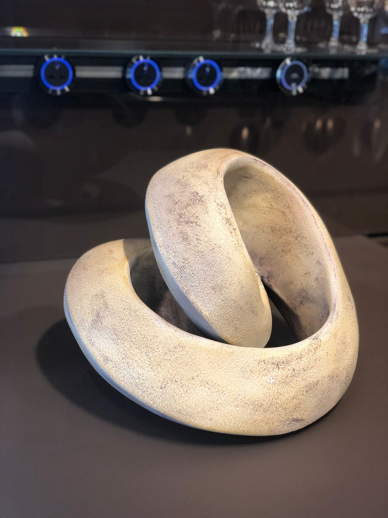 Amber Coil, Hand Built Ceramic Sculptural Organic Form in Subtle Earth Tones In New Condition For Sale In Chicago, IL