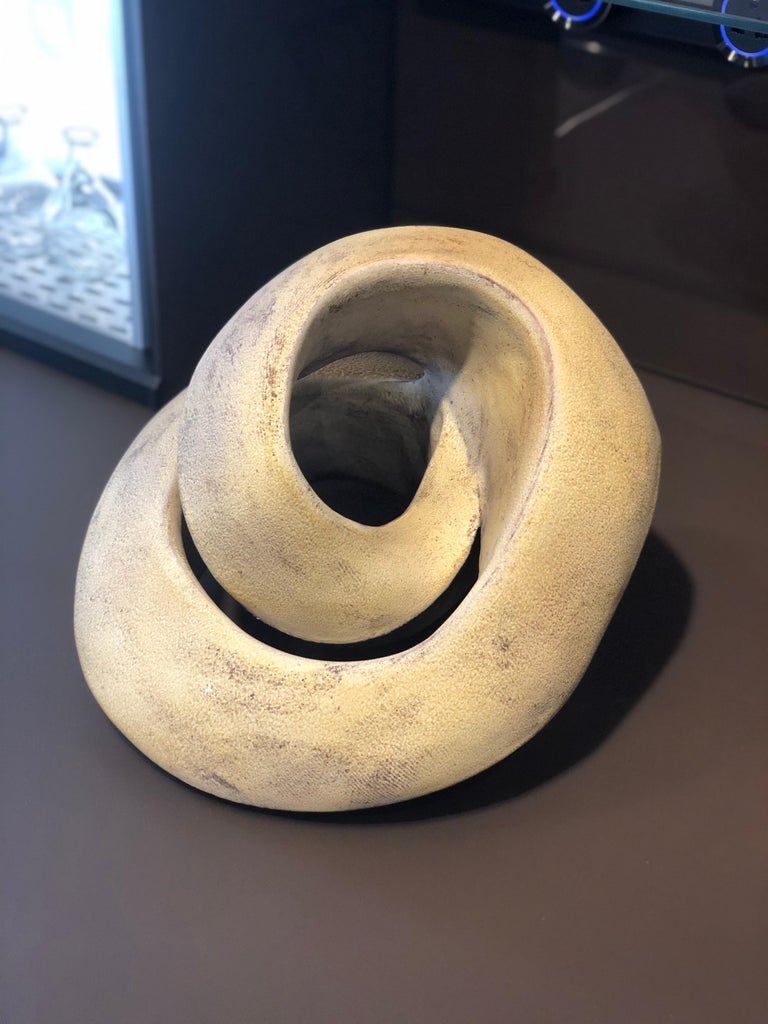 Contemporary Amber Coil, Hand Built Ceramic Sculptural Organic Form in Subtle Earth Tones For Sale
