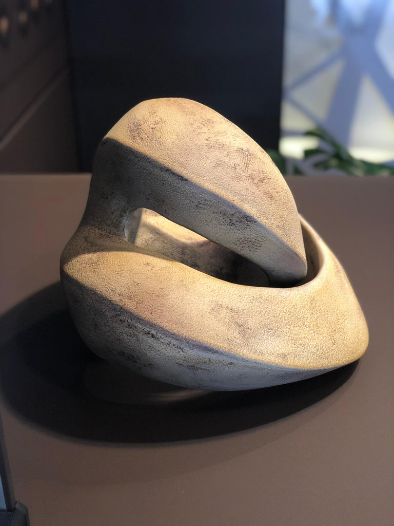 Amber Coil, Hand Built Ceramic Sculptural Organic Form in Subtle Earth Tones For Sale 1