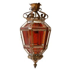 Amber Color and Clear Glass Lantern