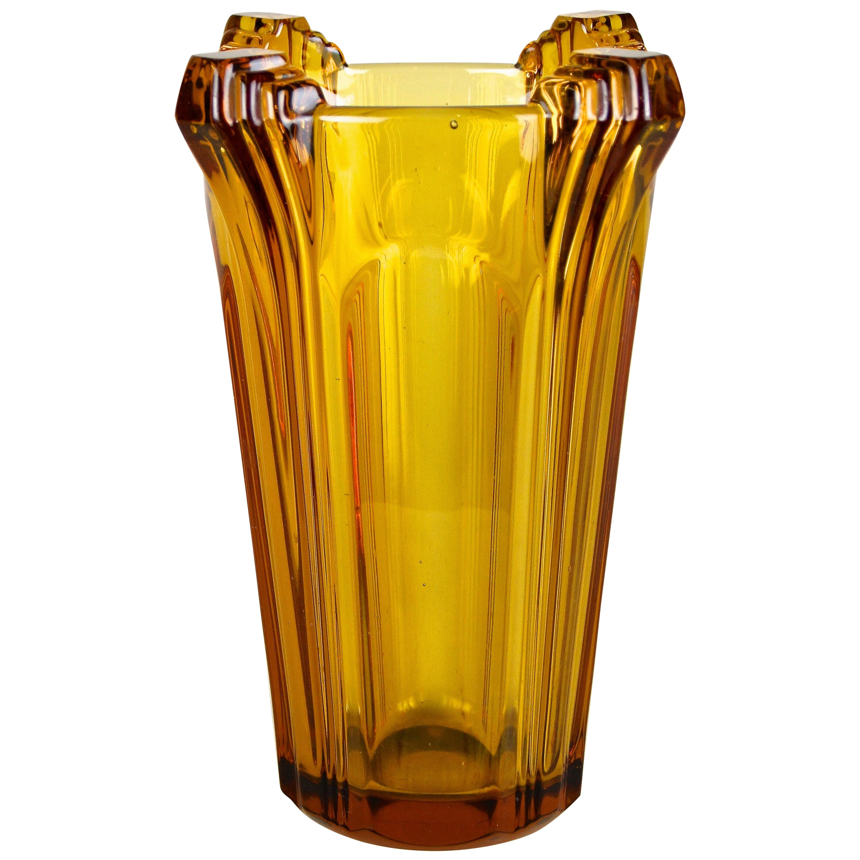 Amber Colored Art Deco Glass Vase, Austria, circa 1920