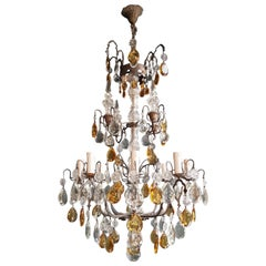 Amber Crystal Antique Chandelier Ceiling Florentiner Lustre Art Nouveau