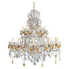 Amber Crystal Antique Chandelier Ceiling Florentiner Lustre Art Nouveau