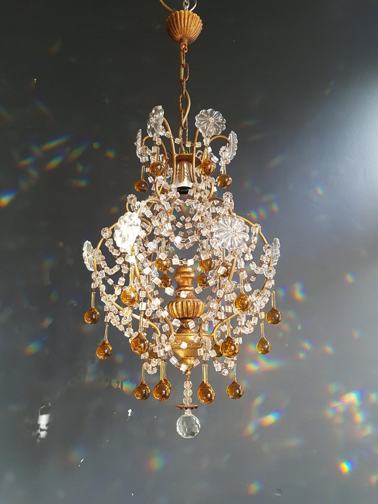 Amber Crystal Chandelier Antique Ceiling Murano Florentiner Lustre Art Nouveau For Sale 3