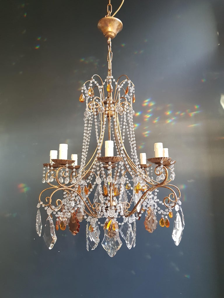 Amber crystal chandelier antique ceiling Murano Florentiner lustre Art Nouveau