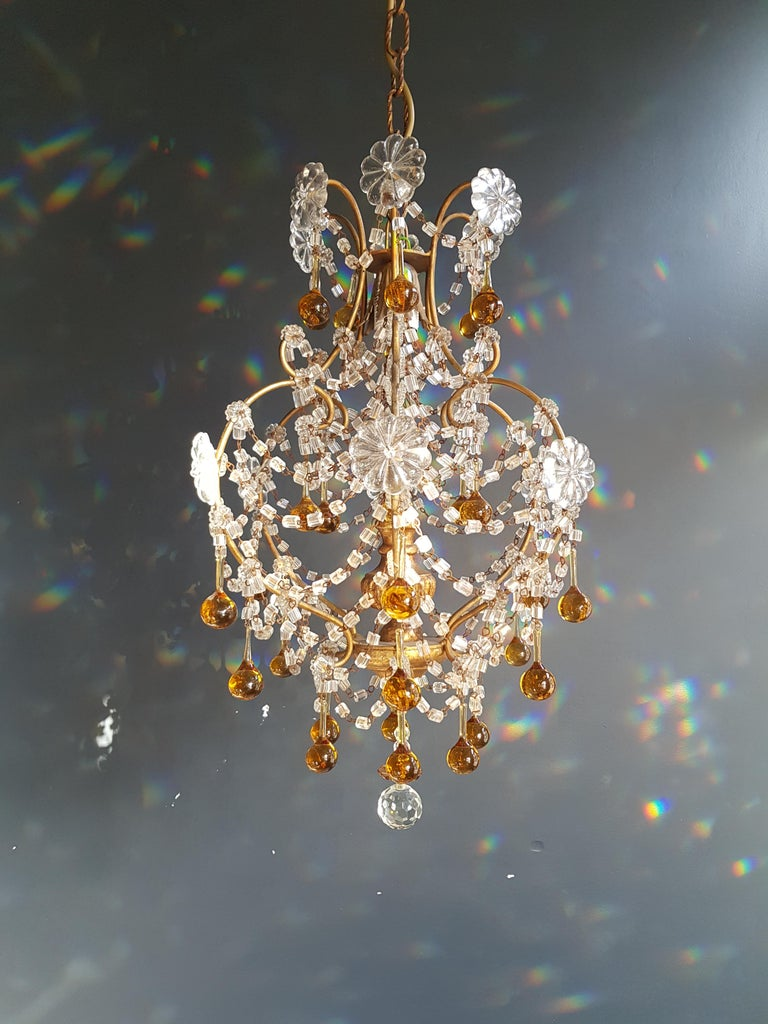 Hand-Crafted Amber Crystal Chandelier Antique Ceiling Murano Florentiner Lustre Art Nouveau For Sale