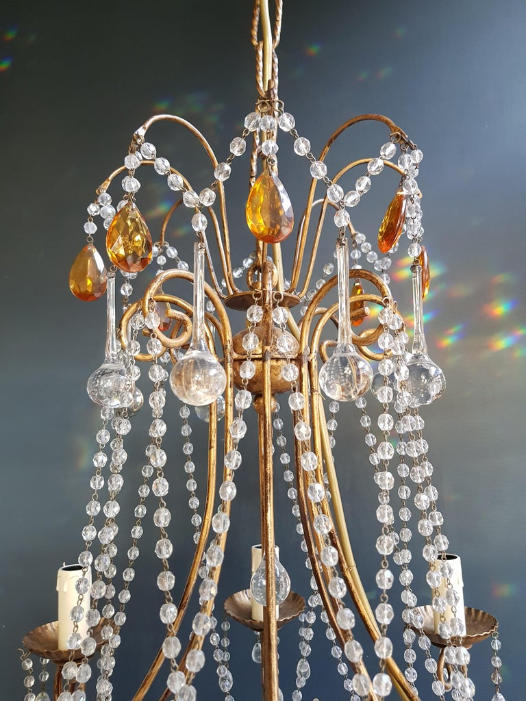 Italian Amber Crystal Chandelier Antique Ceiling Murano Florentiner Lustre Art Nouveau For Sale