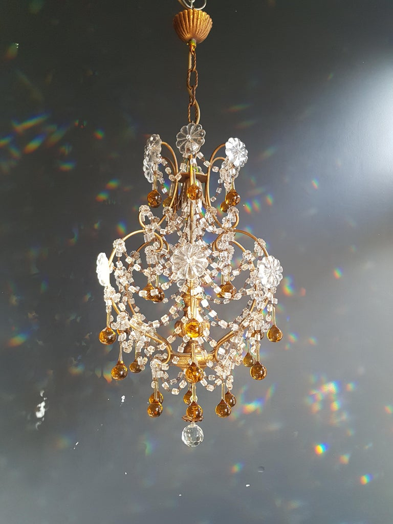 Amber Crystal Chandelier Antique Ceiling Murano Florentiner Lustre Art Nouveau In Good Condition For Sale In Berlin, DE
