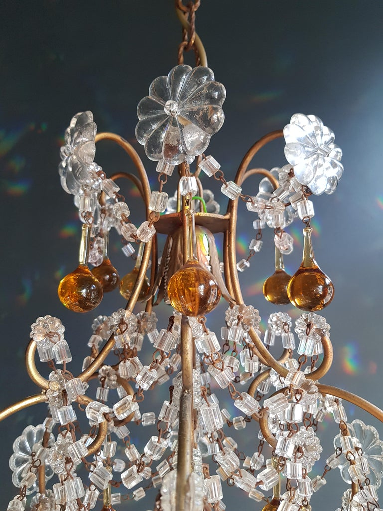 Early 20th Century Amber Crystal Chandelier Antique Ceiling Murano Florentiner Lustre Art Nouveau For Sale