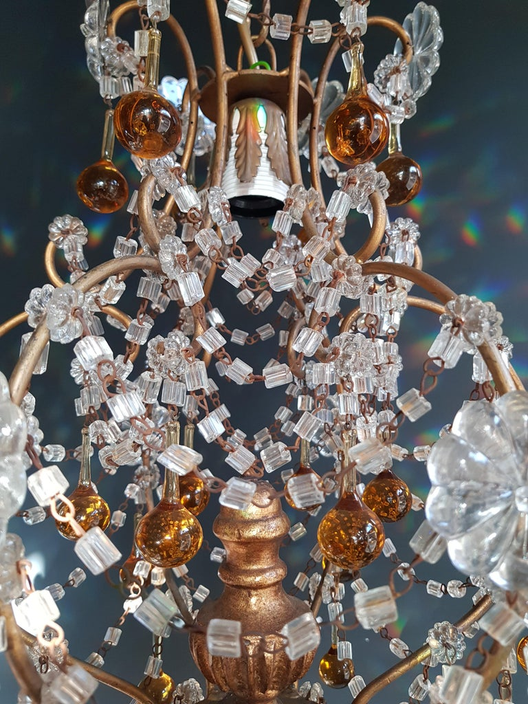 Wire Amber Crystal Chandelier Antique Ceiling Murano Florentiner Lustre Art Nouveau For Sale