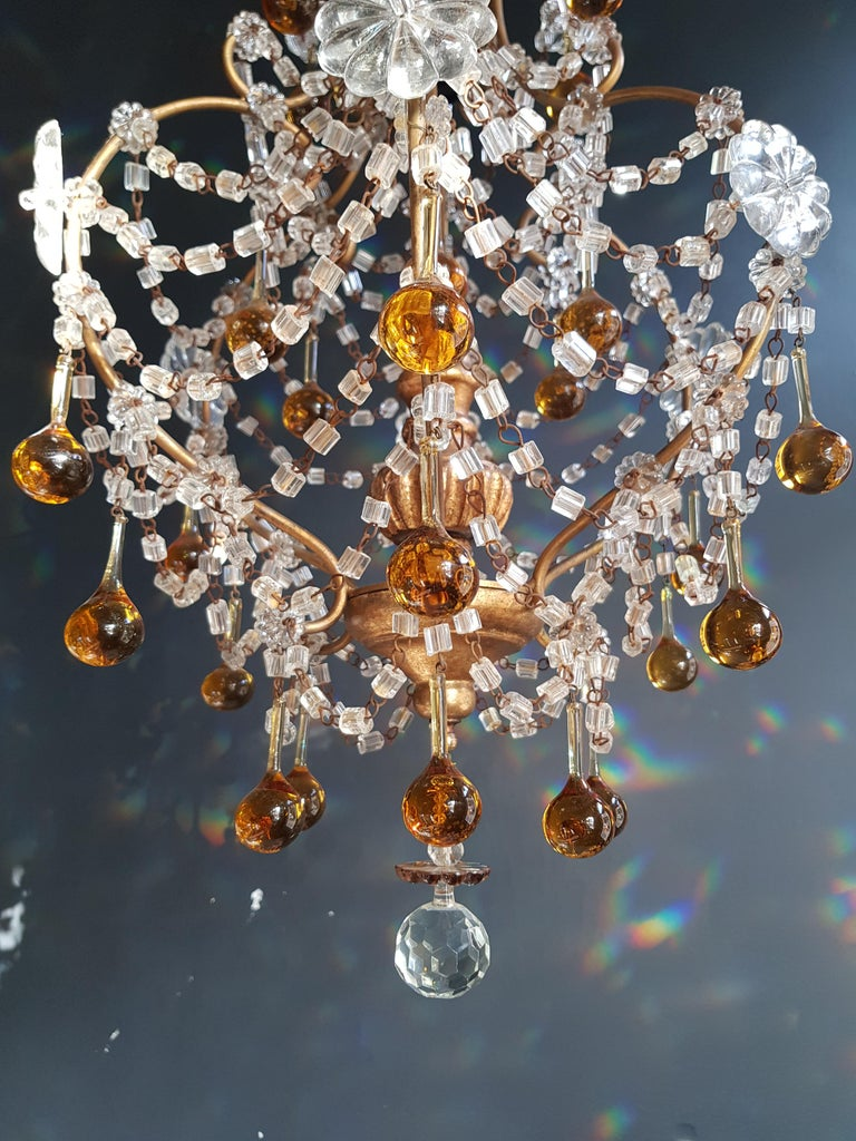 Amber Crystal Chandelier Antique Ceiling Murano Florentiner Lustre Art Nouveau For Sale 1