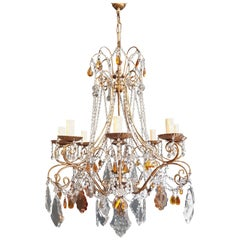 Amber Crystal Chandelier Antique Ceiling Murano Florentiner Lustre Art Nouveau