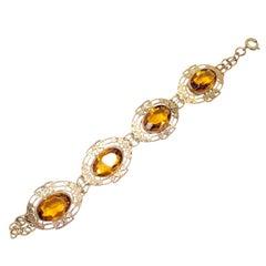Amber Crystal Floral Brass Link Bracelet, Vintage, 20th Century