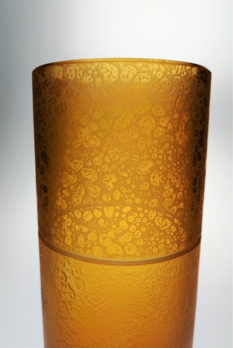 Modern Amber Crystal Vase Tube With Leather Effect For Sale