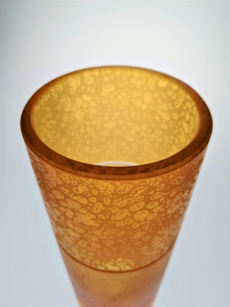 French Amber Crystal Vase Tube With Leather Effect For Sale