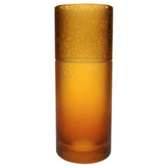 Amber Crystal Vase Tube With Leather Effect
