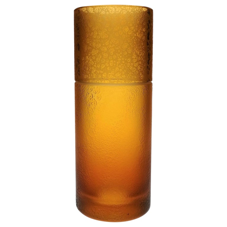 Amber Crystal Vase Tube With Leather Effect For Sale