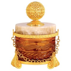 Amber Cylindrical Box with Lid