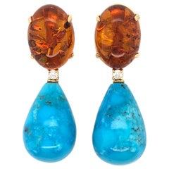 Amber, Diamonds and Turquoise on Yellow Gold 18 Karat Chandelier Earrings