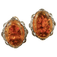 Amber, Diamonds, Rose Gold and Silver Retro Earrings