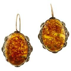 Amber, Diamonds, Rubies 9 Karat Rose Gold and Silver Dangle Earrings