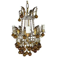 Amber Drop Gilt Metal Crystal Beaded Chandelier, circa 1930
