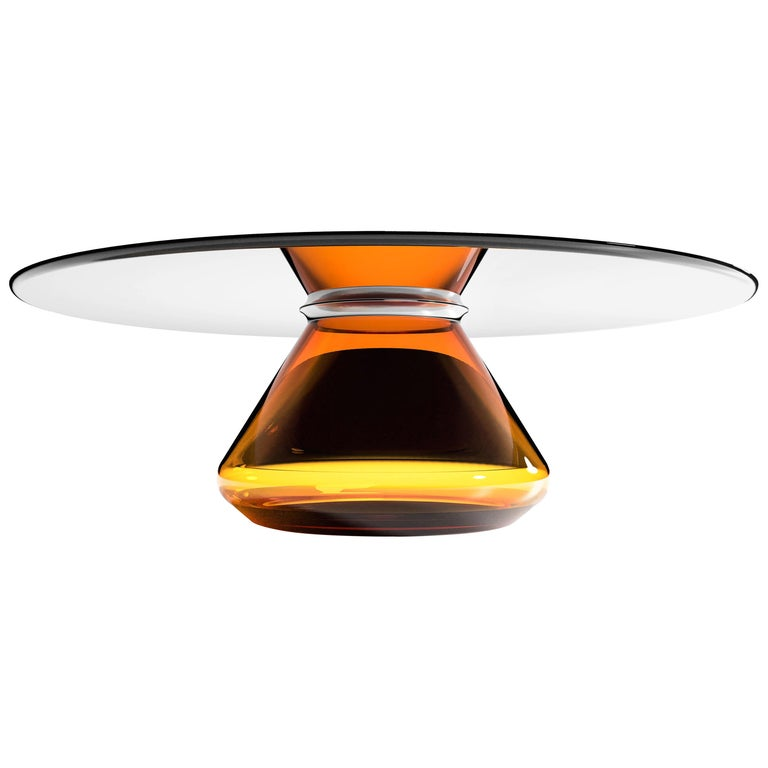 """""""Amber Eclipse"""" Contemporary Coffee Table Ft. Glass Base and Top, Grzegorz Majka For Sale"""