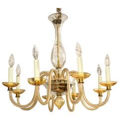 Amber Eight-Arm Murano Glass Chandelier
