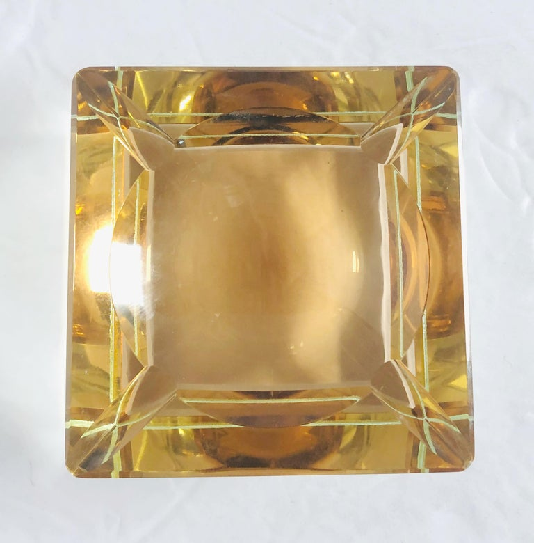 20th Century Amber Faceted Sommerso Ashtray by Mandruzzato For Sale