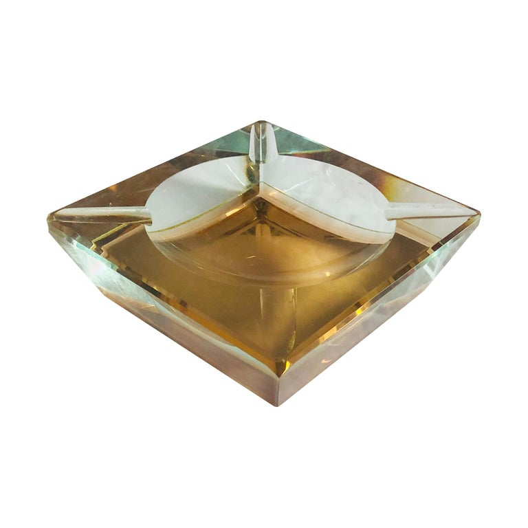 Amber Faceted Sommerso Ashtray by Mandruzzato For Sale