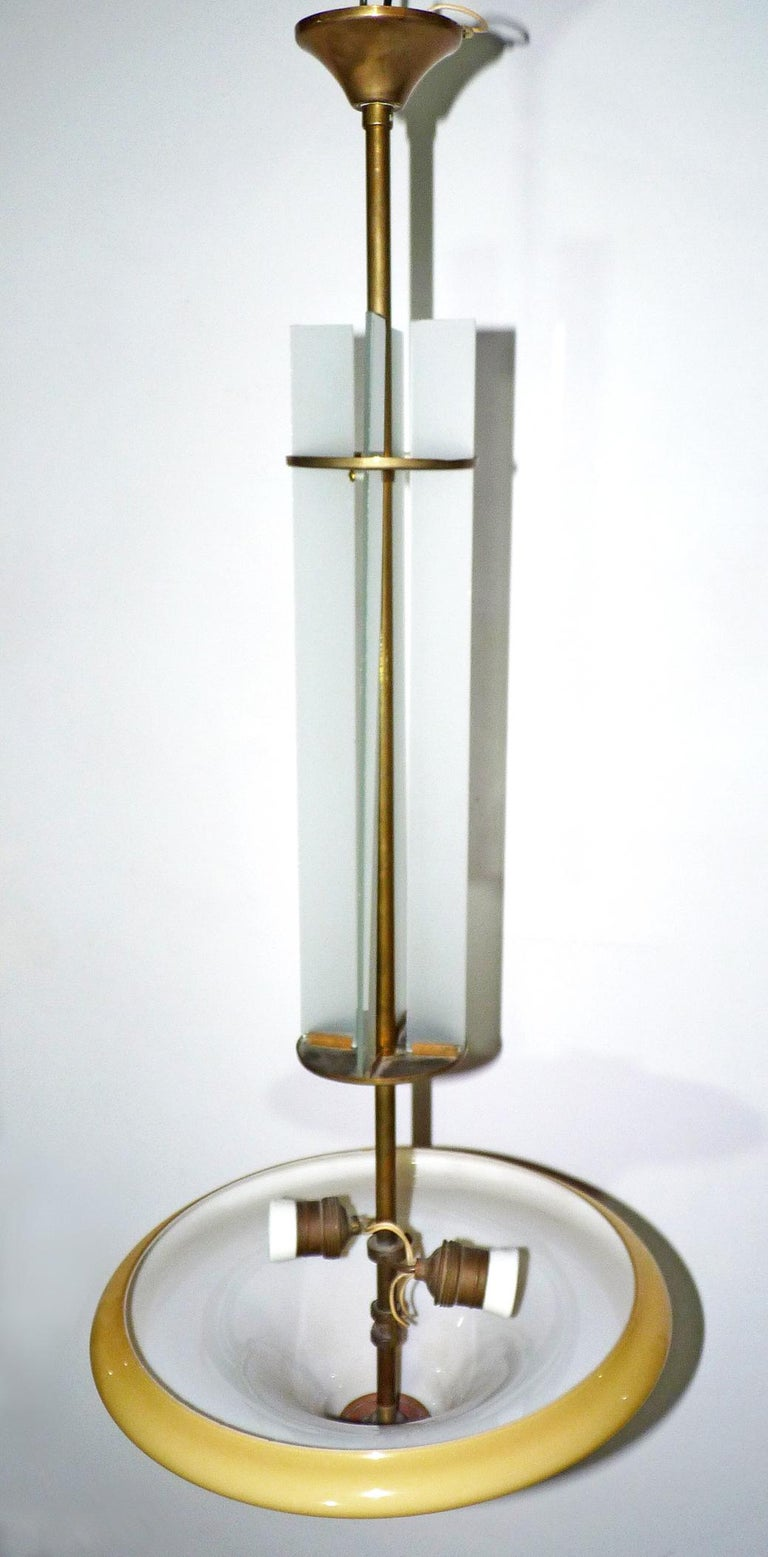 20th Century Amber French Art Deco and Art Nouveau Bronze & Opaline Glass Hanging Chandelier For Sale