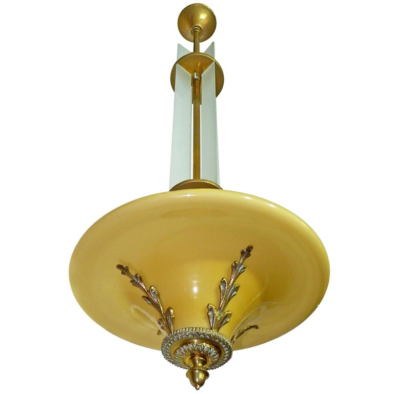 Amber French Art Deco and Art Nouveau Bronze & Opaline Glass Hanging Chandelier For Sale