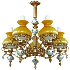 Amber French Limoges Porcelain Gilt Bronze Victorian Library Oil Lamp Chandelier
