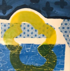 And It Got Out Of My Way, blue and yellow abstract encaustic painting on panel
