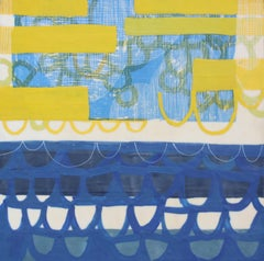 Check the Depth Meter, blue and yellow abstract encaustic painting on panel