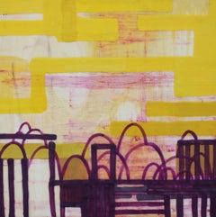 Coming to a Rest, yellow, pink and purple abstract encaustic painting on panel