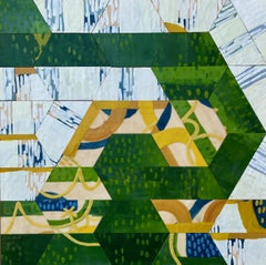 Cul-de-sac, green and blue abstract encaustic painting on panel