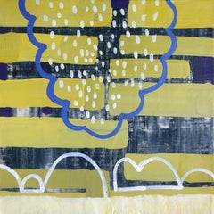 Inhabit I, yellow and blue abstract encaustic painting on panel