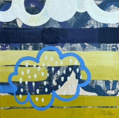 Inhabit II, yellow and blue abstract encaustic painting on panel