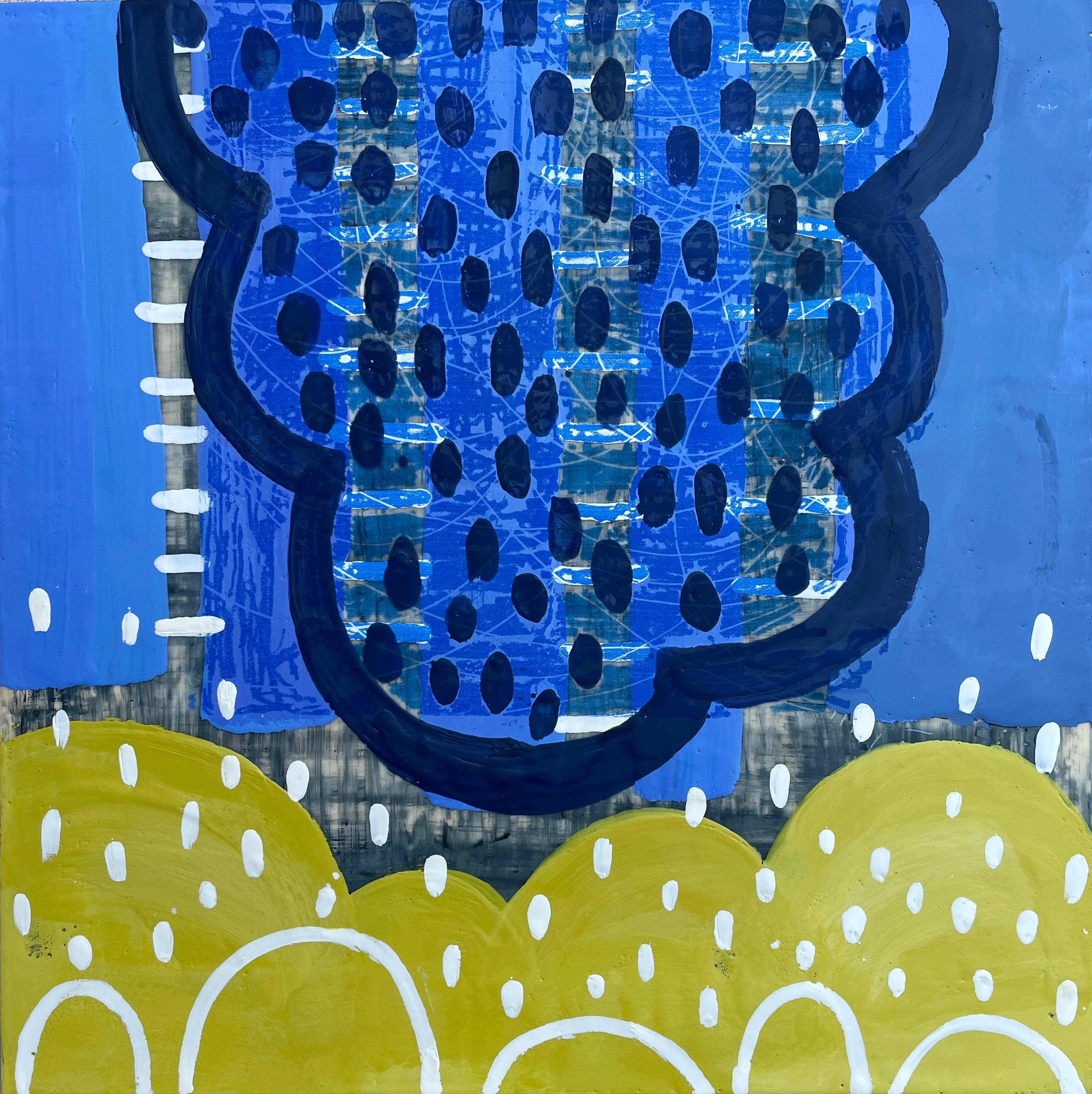 Inhabit III, yellow and blue abstract encaustic painting on panel