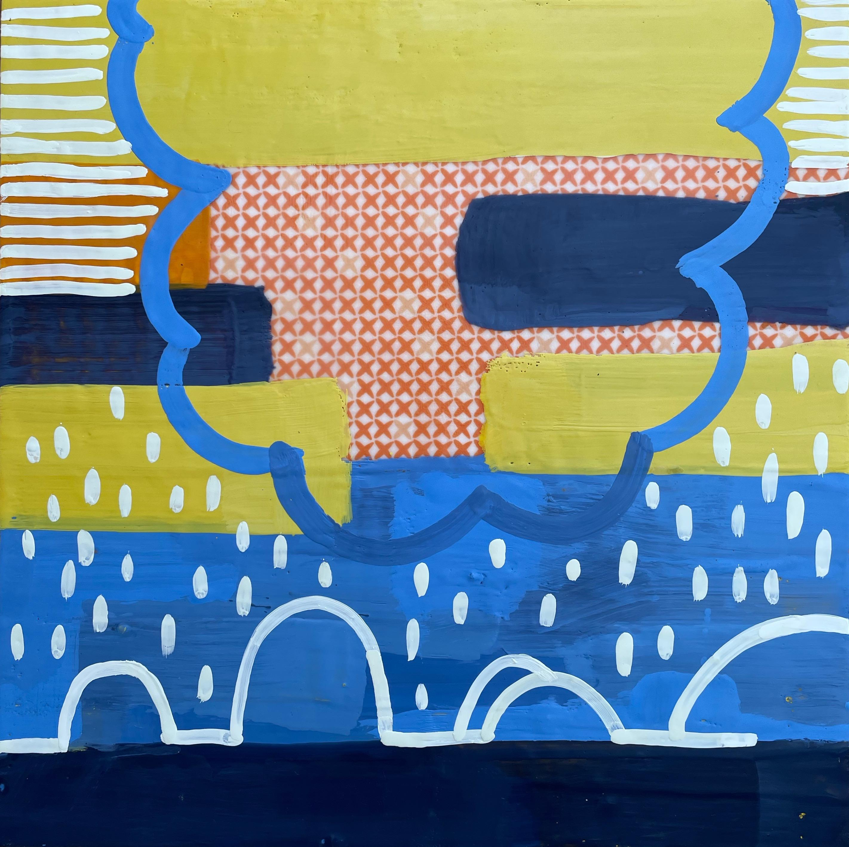 Inhabit IV, yellow and blue abstract encaustic painting on panel