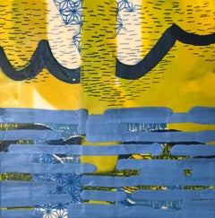 It Showed Me Its Depths, blue and yellow abstract encaustic painting on panel