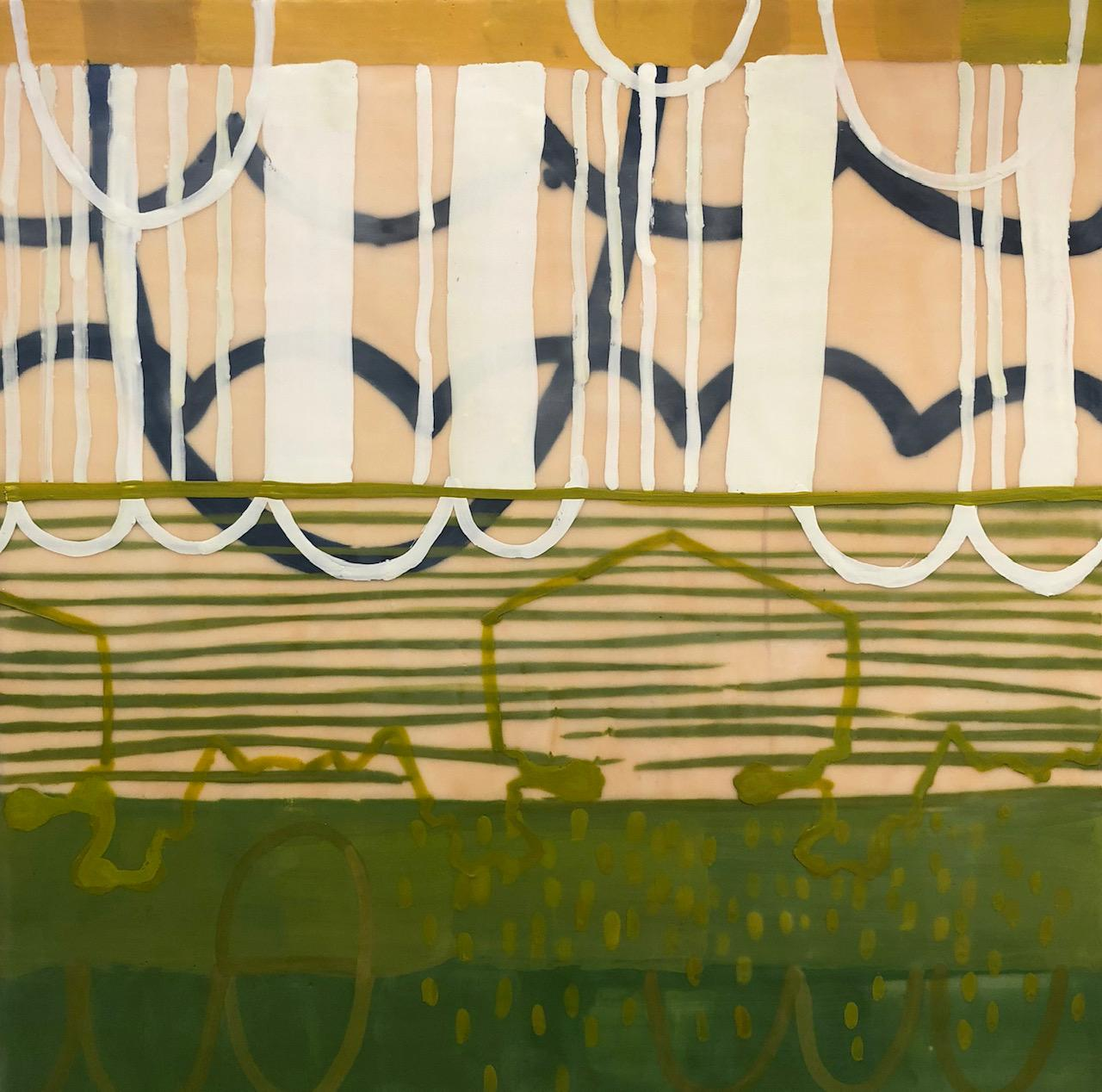 Lacuna 7, yellow and green abstract encaustic painting on panel, stripes