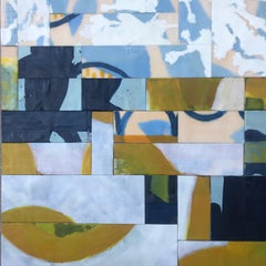 Migration 1, yellow and blue abstract encaustic painting on panel