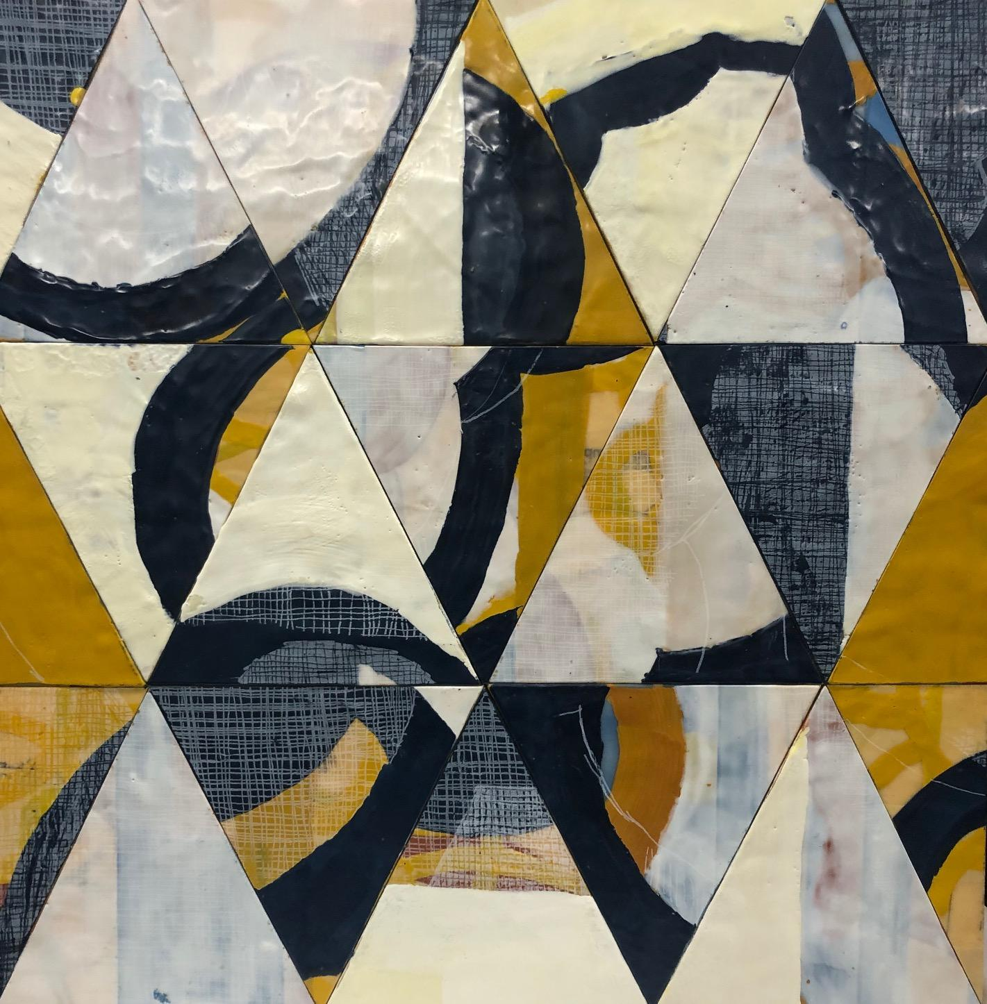 Migration 2, black and white abstract encaustic painting on panel, triangles
