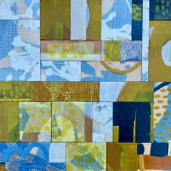 Migration 3, blue and green abstract encaustic painting on panel