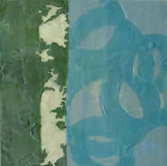 Postcard I, blue and green abstract encaustic painting on panel